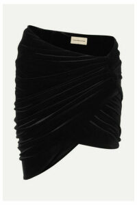 Alexandre Vauthier - Draped Stretch-velvet Mini Skirt - Black