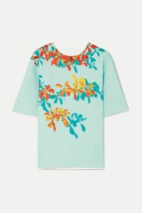 Dries Van Noten - Conga Floral-print Stretch-scuba T-shirt - Light blue