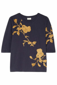 Dries Van Noten - Hefiza Metallic Floral-embroidered Cotton-jersey T-shirt - Purple