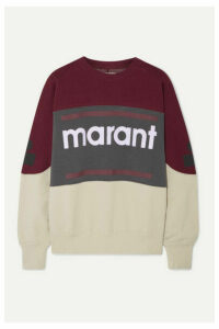 Isabel Marant Étoile - Gallian Flocked Cotton-blend Fleece Sweatshirt - Burgundy