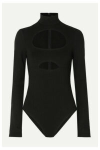 David Koma - Cutout Cotton-jersey Bodysuit - Black