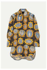 Chloé - Oversized Printed Silk-satin Shirt - Navy