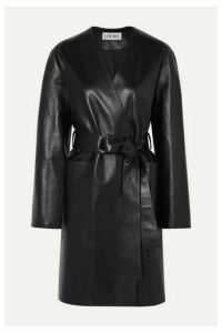 Loewe - Belted Leather Coat - Black