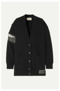 Christopher Kane - Oversized Crystal-embellished Wool Cardigan - Black