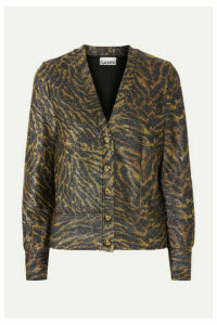 GANNI - Tiger-print Lurex Cardigan - Brown