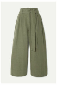 Co - Cropped Belted Woven Wide-leg Pants - Army green
