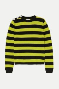 GANNI - Button-embellished Striped Cashmere Sweater - Green