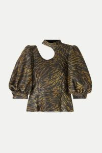 GANNI - Tiger-print Cutout Lurex Blouse - Brown