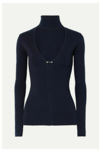 Dion Lee - Embellished Cutout Merino Wool-blend Turtleneck Sweater - Navy