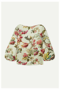 Etro - Floral-print Washed-satin Top - White