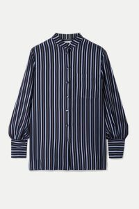 Co - Striped Silk-crepe Shirt - Navy