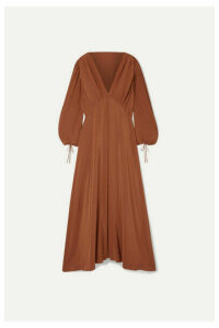 The Row - Sante Gathered Silk Crepe De Chine Maxi Dress - Brick