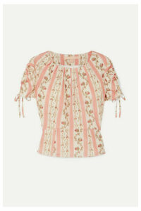 Brock Collection - Ruched Grosgrain-trimmed Floral-print Silk-georgette Top - Pastel pink
