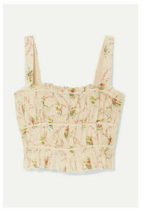 Brock Collection - Frayed Ruched Floral-print Cotton-gauze Bustier Top - Pastel pink