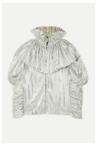Rodarte - Ruffled Pleated Lamé Blouse - Silver