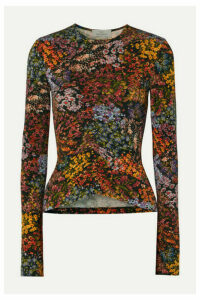 Preen by Thornton Bregazzi - Norah Ruched Floral-print Stretch-crepe Top - Brown
