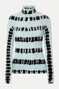 Proenza Schouler - Tie-dyed Stretch-velvet Turtleneck Top - Sky blue
