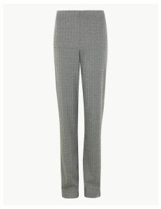 M&S Collection Jersey Herringbone Straight Fit Trousers