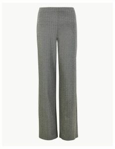 M&S Collection Jersey Herringbone Wide Leg Trousers