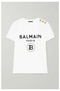 Balmain - Button-embellished Flocked Cotton-jersey T-shirt - White