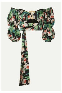 PatBO - Cropped Off-the-shoulder Floral-print Satin Top - Green