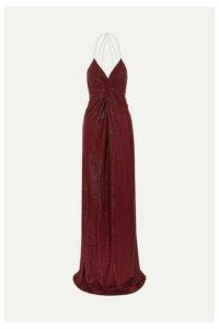 Michelle Mason - Twist-front Crystal-embellished Lurex Gown - Burgundy