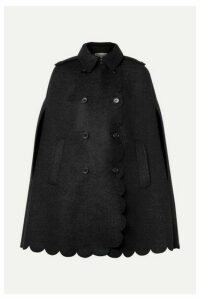 REDValentino - Double-breasted Scalloped Wool-blend Bouclé Cape - Charcoal