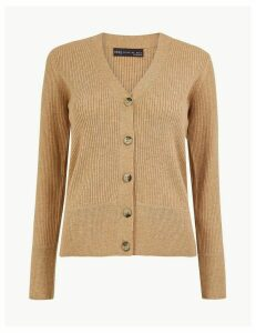 M&S Collection V Neck Ribbed Button Cardigan
