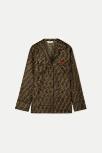 Fendi - Embroidered Printed Silk-satin Shirt - Tan