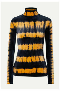 Proenza Schouler - Tie-dyed Stretch-velvet Turtleneck Top - Black