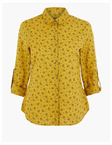 M&S Collection PETITE Pure Cotton Printed Shirt