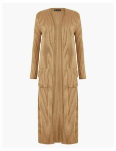 M&S Collection Ribbed Midi Cardigan