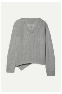 alexanderwang.t - Ribbed Cotton-blend Sweater - Light gray