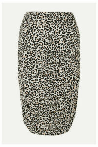 Norma Kamali - Ruched Leopard-print Stretch-jersey Skirt - Leopard print