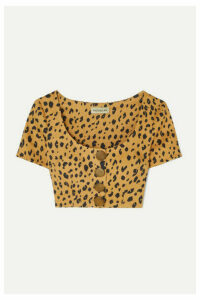 NICHOLAS - Button-detailed Cropped Leopard-print Tencel-blend Top - Leopard print