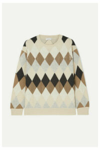 Brunello Cucinelli - Sequin-embellished Argyle Wool, Cashmere And Silk-blend Sweater - Neutral