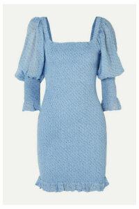 GANNI - Shirred Floral-print Crepe Mini Dress - Blue