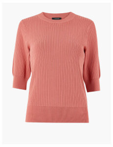 Autograph Ribbed Round Neck Knitted Top