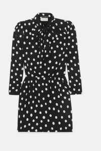 SAINT LAURENT - Pussy-bow Printed Crepe Mini Dress - Black