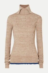 Jil Sander - Ruffled Ribbed Mélange Wool Sweater - Beige