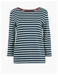 Autograph Striped Ponte Regular Fit 3/4 Sleeve T-Shirt