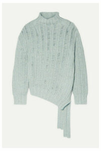 Sies Marjan - Nancy Asymmetric Ribbed Cashmere And Wool-blend Turtleneck Sweater - Blue