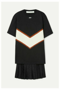 Off-White - Panelled Cotton-jersey And Satin Mini Dress - Black