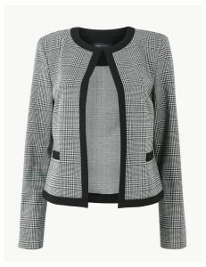 M&S Collection Jersey Checked Edge To Edge Short Blazer