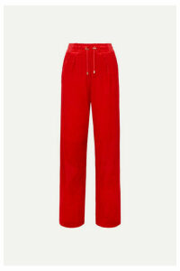 Balmain - Velvet Track Pants - Red
