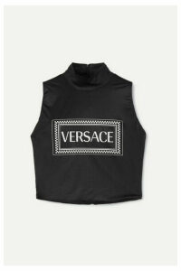 Versace - Printed Stretch-jersey Turtleneck Top - Black