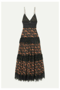 Charo Ruiz - Dama Crocheted Lace-paneled Floral-print Cotton-blend Voile Maxi Dress - Black