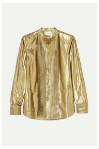 SAINT LAURENT - Pintucked Lamé Shirt - Gold