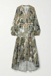 SAINT LAURENT - Asymmetric Zebra-print Sequined Crepe Mini Skirt - Black