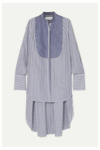 Monse - Typewriter Oversized Asymmetric Striped Cotton-poplin Shirt - Blue